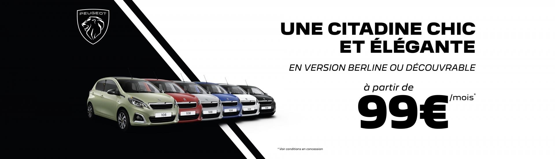 Roulez en Peugeot 108 à partir de 99€/mois*